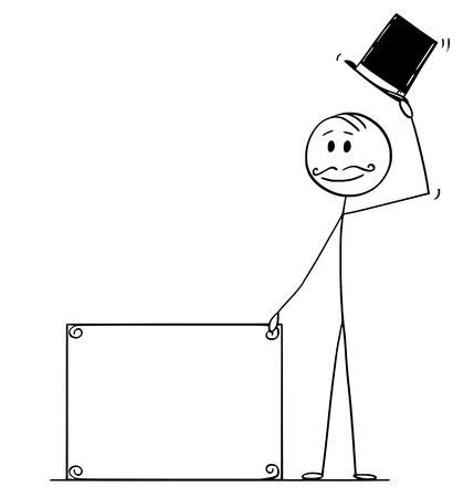 Illustration pour Cartoon stick figure drawing conceptual illustration of greeting gentleman, man or businessman with retro top hat, mustache holding empty sign for your text. - image libre de droit
