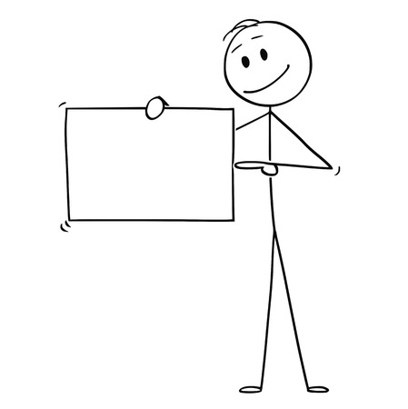 Illustration pour Cartoon stick figure drawing conceptual illustration of man or businessman holding empty sign and pointing at it, - image libre de droit