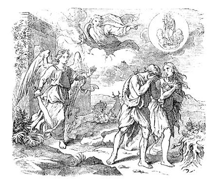 Ilustración de Vintage antique illustration and line drawing or engraving of biblical Adam and Eve leaving Garden of Eden. Expulsion from paradise by angel or cherubim with flaming sword.Genesis 3:24. - Imagen libre de derechos
