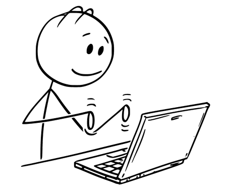 Illustration pour Cartoon stick figure drawing conceptual illustration of smiling man working and typing on laptop computer. - image libre de droit