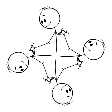 Illustration pour Vector cartoon stick figure drawing conceptual illustration of circular element of four men drawing each other with pencil creating endless circle. - image libre de droit