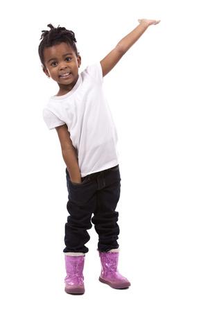 Photo pour casual black girl posing on white studio background - image libre de droit