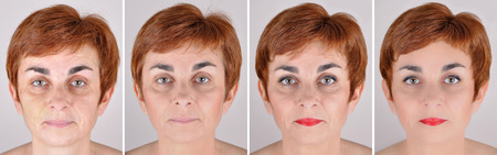 Photo for A set of  four portraits of the same woman, one before and the others after step by step applying make-up and computer retouching - Royalty Free Image