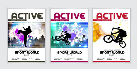Cover active sports magazine, vector