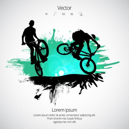 Illustrazione per Silhouette of bicycle jumper vector illustration. - Immagini Royalty Free