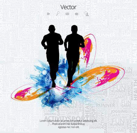 Ilustración de Silhouette of marathon runner - Imagen libre de derechos