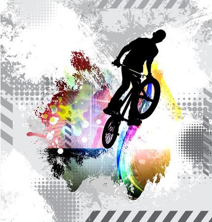 Illustrazione per Silhouette of a bicycle rider. Vector illustration - Immagini Royalty Free