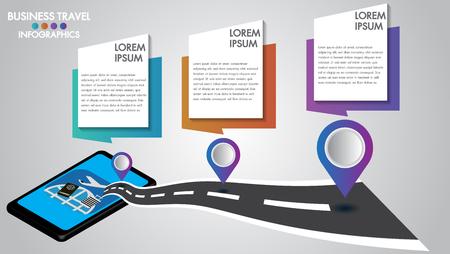 Illustration pour Infographic design 3d mobile tablet with road navigation, concept of navigator technology.Timeline with 3 steps, number options, or process.Vector illustration. - image libre de droit
