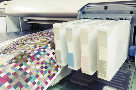 large format ink jet printer cartridge with color managament target paper roll