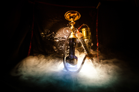 Photo pour Hookah hot coals on shisha bowl with black background. Stylish oriental shisha. Shisha Concept - image libre de droit