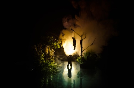 Photo pour Horror view of hanged girl on tree at evening (at night) Suicide decoration. Death punishment executions or suicide abstract idea. Different background decoration - image libre de droit