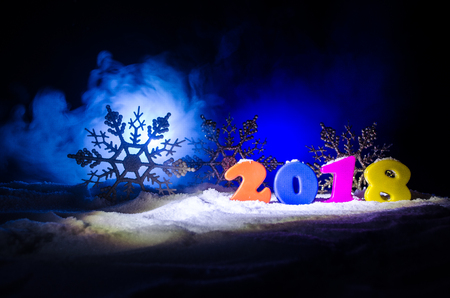 Photo for New Years Eve celebration background with new year elements or symbols. Decoration for greeting card. Happy new year. - Royalty Free Image