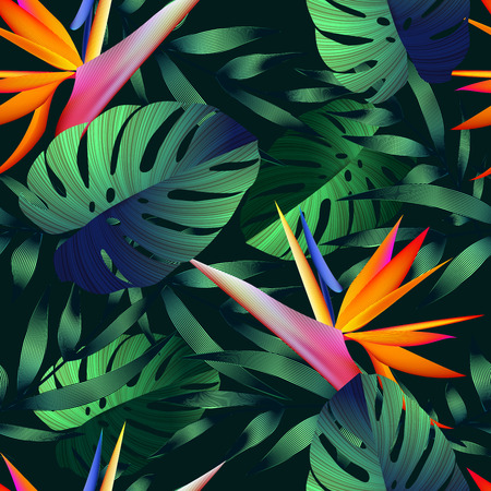 Illustration pour Tropical flowers, jungle leaves, bird of paradise flower. Beautiful seamless vector floral pattern background, exotic print - image libre de droit