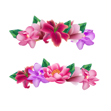 Illustration for Set of flower head wreaths - Royalty Free Image