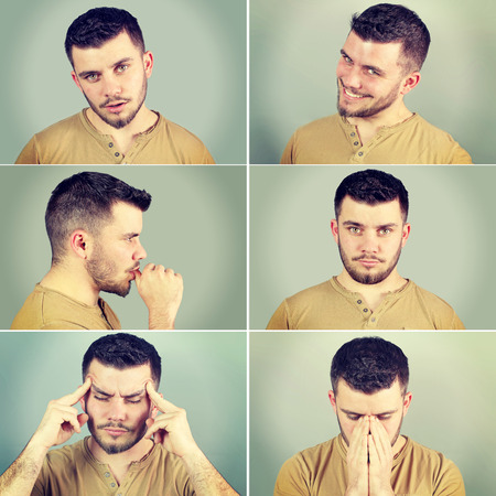 six emotions of a man on a green background