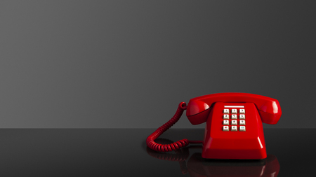 Photo pour Telephone, red old vintage telephone on black background and mirror desk, emergency call concept. - image libre de droit