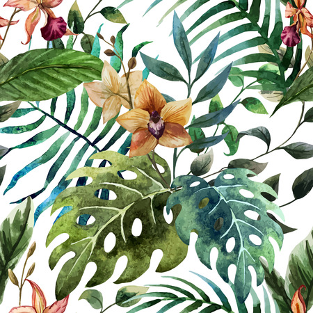 Illustration for Beautiful vector pattern with tropic leafs on white fon - Royalty Free Image