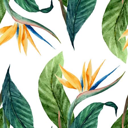 Illustration pour Beautiful vector pattern with tropic leafs on white fon - image libre de droit