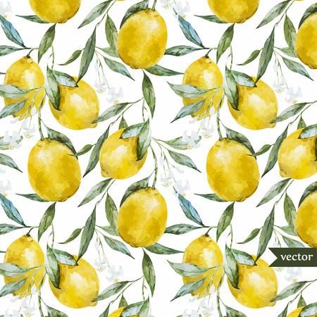 Illustration pour Beautiful watercolor vector pattern with yellow lemons on brunch - image libre de droit