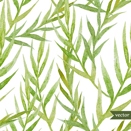 Illustration pour Beautiful watercolor vector tropic pattern with green leafs - image libre de droit