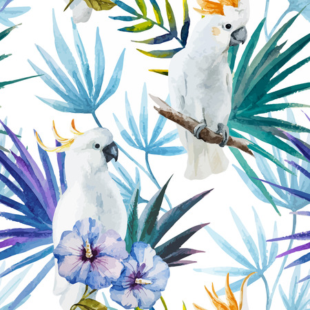 Illustration pour Beautiful watercolor vector tropic pattern with white parrot - image libre de droit