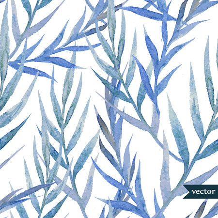 Illustration pour Beautiful watercolor vector tropic pattern with blue leafs - image libre de droit