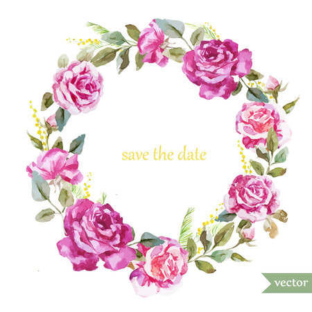 Illustration for Beautiful watercolor vector frame with summer roses - Royalty Free Image