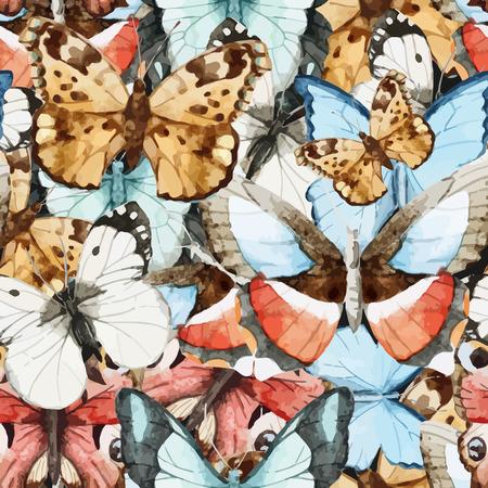 Photo pour Beautiful watercolor vector butterfly pattern different types - image libre de droit