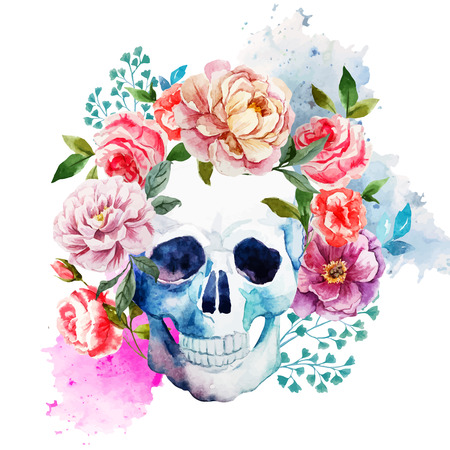 Ilustración de Beautiful watercolor vector pattern with nice skull - Imagen libre de derechos