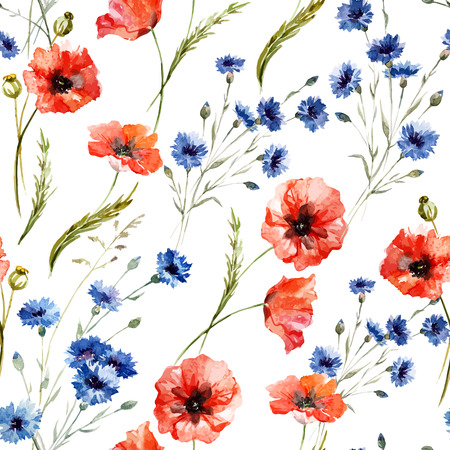 Illustration pour Beautiful watercolor vector pattern with wildflowers poppy - image libre de droit