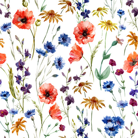 Ilustración de Beautiful watercolor vector pattern with wildflowers poppy - Imagen libre de derechos