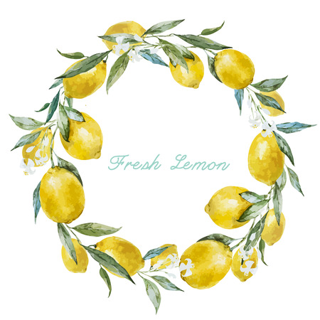 Ilustración de Beautiful watercolor vector frame with  fresh yellow lemons - Imagen libre de derechos