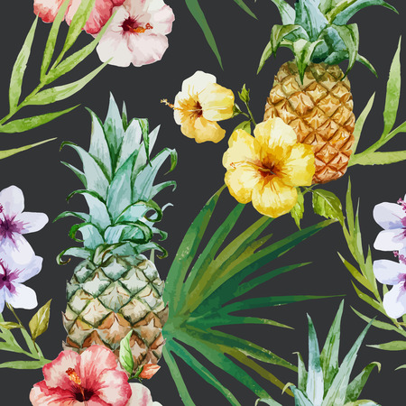 Illustration pour Beautiful watercolor vector tropical pattern with pineapples and hibiscus - image libre de droit
