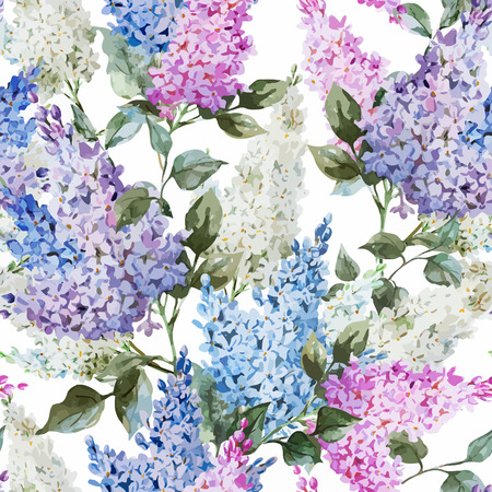 Illustration for Beautiful watercolor vector lilac pattern flowers and leafs - Royalty Free Image