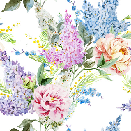 Illustration for Beautiful watercolor lilac pattern with piones and mimosa - Royalty Free Image