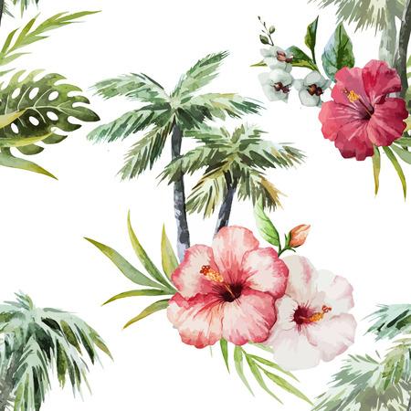 Illustration pour Beautiful vector watercolor pattern with flamingo palm and flowers - image libre de droit