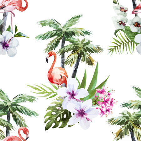Illustration for Beautiful vector watercolor pattern with flamingo palm and flowers - Royalty Free Image