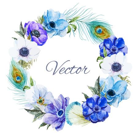 Illustration pour Beautiful vector wearth with nice watercolr anemones - image libre de droit