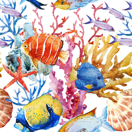 Illustration pour Beautiful vector pattern with nice watercolor fishes - image libre de droit