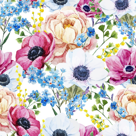 Ilustración de Beautiful vector pattern with watercolor anemones flowers - Imagen libre de derechos