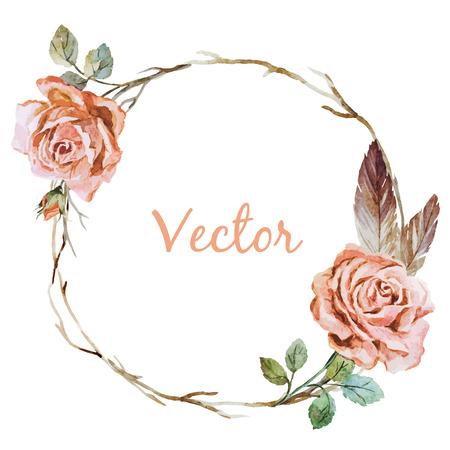 Ilustración de Beautiful vector image with nice watercolor rose wearth - Imagen libre de derechos