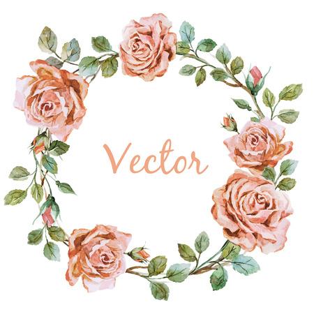 Illustration pour Beautiful vector image with nice watercolor rose wearth - image libre de droit