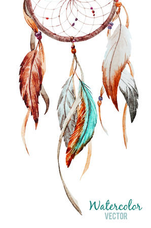 Illustration for Beautiful vector image with nice watercolor dreamcatcher - Royalty Free Image