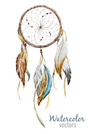 Ilustración de Beautiful vector image with nice watercolor dreamcatcher - Imagen libre de derechos