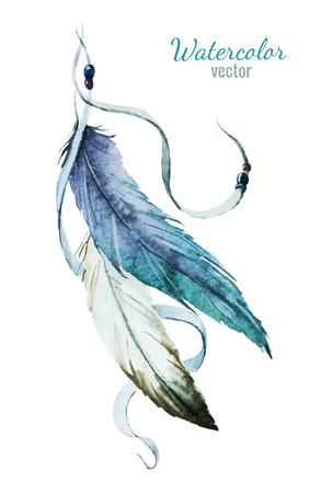 Illustration for Beautiful vector image with nice watercolor feather - Royalty Free Image