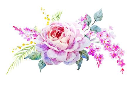 Illustration pour Beautiful vector image with nice watercolor roses - image libre de droit