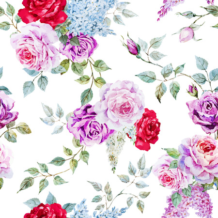 Illustration pour Beautiful vector pattern with nice watercolor roses - image libre de droit