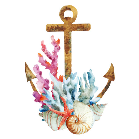 Illustration pour Beautiful vector image with nice watercolor anchor with corals - image libre de droit