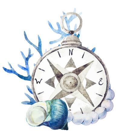 Ilustración de Beautiful vector image with nice watercolor compass with corals - Imagen libre de derechos