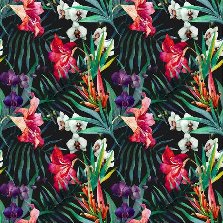 Ilustración de Beautiful vector pattern with nice watercolor tropical flowers - Imagen libre de derechos
